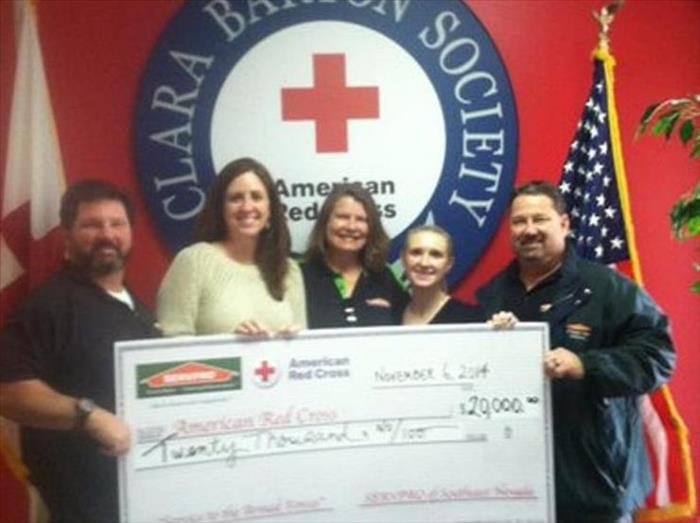 "Community SERVPRO of SOUTHEAST NEVADA DONATES $20,000.00 TO RED CROSS ""SERVICE TO THE ARMED FORCES"" DIVISION IN SOUTHERN NEVADA"