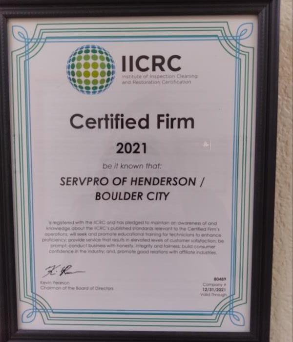 Servpro Certified Firm certificate